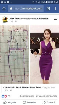 Best 10 ENG➡️to draft the pattern of this dress, start from a basic block with darts dart manipulation of the front bodic – SkillOfKing.Com - Her Crochet Peplum Outfit, Fashion Sewing, Diy Fashion, Fashion Outfits, Dress Sewing Patterns, Clothing Patterns, Sewing Clothes, Diy Clothes, Bodice Pattern