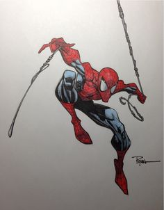 Spider-Man by Ryan Ottley Pencil, Pentel brush pen, Copic markers.
