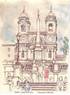 Cuaderno Roma. Piazza di Spagna. Iglesia Trinitá dei Monti. Nano S-Beato