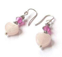 Romantic Rose Quartz Heart Earrings