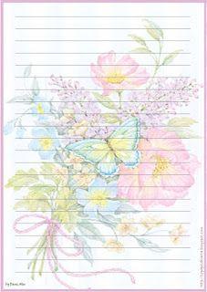 Papéis de Carta e Envelopes - Papel de Carta e Envelope - Papel de Carta e Envelope para imprimir: Flores - Floral com envelopes