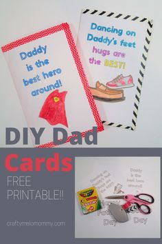 With a FREE PRINTABLE, your kids can make 2 different cards for dad. Follow the easy step-by-step instructions to create a card that will have dad happy this father's day. Show how dad is a superhero with this card great for preschoolers to color.  Or your kids can tell daddy how much they love him with the dancing on daddy's feet card. Making the cards are quick and easy.  Best of all they don't need a lot of supplies. #DadCardDIY #HomemadeFathersDayCard Paper Crafts For Kids, Crafts To Make, Fun Crafts, Indoor Activities For Kids, Kid Activities, Diy Father's Day Cards, Father's Day Diy, Daddy Gifts, Fathers Day Cards
