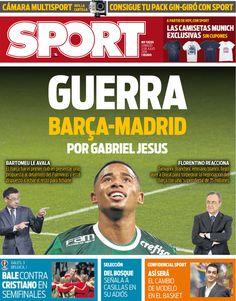 """Jornal espanhol fala em """"guerra"""" entre Barcelona e Real por Gabriel Jesus #globoesporte"""