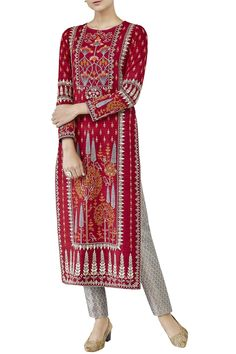 Shop Anita Dongre Red silk embroidered kurta , Exclusive Indian Designer Latest Collections Available at Aza Fashions