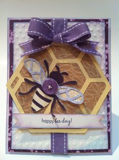 Happy bee-day! card made using Garden Soup cartridge. By Courtney Lane Designs #cricut