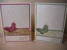 embossed with Cuttlebug butterfly folder.  Martha Stewart butterfly punch
