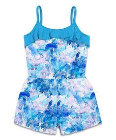 50a454bd69ba Sunshine Swing Blue   Light Pink Watercolor Ruffle Romper - Toddler   Girls