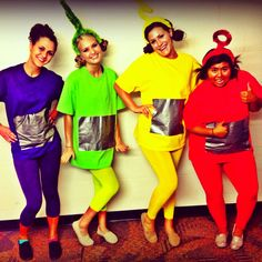 Teletubbies group costume for Halloween wearing leggings (plus how to make from footed pajamas, too) - Fun Times Guide - Costume Halloween, 90s Costume, Homemade Halloween Costumes, Diy Costumes, Costume Ideas, Zombie Costumes, Halloween Couples, Halloween Leggings, Adult Costumes