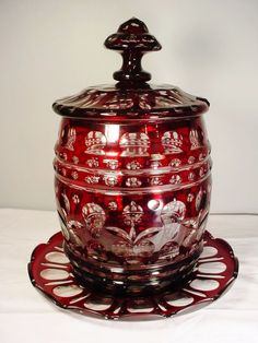 Museum Quality Covered Barrel Punch Bowl Bohemian Ruby Cut Overlay Ca. Bohemia Glass, Diy Bird Bath, Punch Bowl Set, Cranberry Glass, Stained Glass Crafts, Glass Ceramic, Antique Glass, Antique Boxes, Carnival Glass