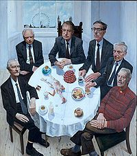 Six British Academy Presidents (Gallus Gallus with Still Life and Presidents) - Stuart Pearson Wright Illustrations, Illustration Art, Painting Competition, Amazing Paintings, National Portrait Gallery, Art Academy, Art Uk, London Art, Figure Painting