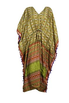bb5200a667d1c Mogul Interior Womens Green Kaftan Maxi Dress Recycled Sari Lounge Wear  Caftan 3XL: Amazon.ca: Mogul Interior