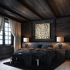 Bedroom chalet, by Aeroslon Modern Bedroom Design, Home Interior Design, Home Bedroom, Bedroom Decor, Luxurious Bedrooms, Log Homes, House Rooms, Home Fashion, House Design