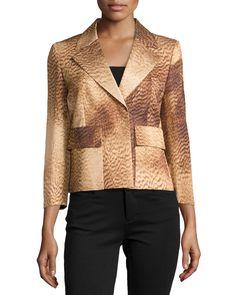 Escada Printed Hidden-Closure Jacket, Women's, Size: 38, Brass
