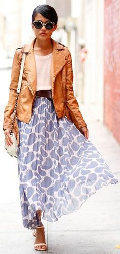 Leather jacket with a flowy maxi.