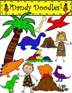 Dino Days clip art! Here are 24 PNG images (12 color and 1 BW) in bright colors.  Earthy colors are available, too.  $