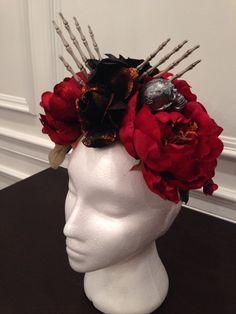 Day Of The Dead Costume Headpiece - skull Dia De Los Muertos #Handmade #Headpiece