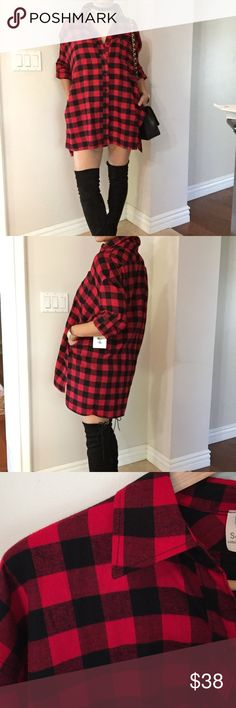 """Oversized plaid flannel shirt black and red Brand new never worn, oversized plaid Flannel shirt, hidden side pockets , high low hem, adjustable rolled up long sleeves .  Front button closure.  Medium soft weight material.  100% Cotton.  Pair this shirt with jeans/shorts/Skirt/leggings or wear it as dress shirt with thigh high boots .  Model is wearing Small 5'3"""" No Trades , Bundle fir 10% discount. Tops Button Down Shirts"""