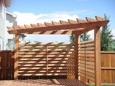 Corner pergola with shade feature. Next project along with a pea gravel patio ar. Corner pergola w Cedar Pergola, Deck With Pergola, Outdoor Pergola, Wooden Pergola, Backyard Pergola, Pergola Shade, Backyard Landscaping, Backyard Ideas, Pergola Lighting