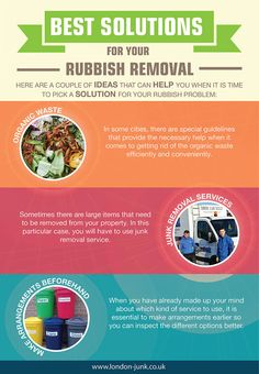 Here are a couple of ideas that can help you when it is time to pick a solution for your rubbish problem. There are a lot of rubbish removal options available for you needs and you just have to find the best one for your needs because if you do find it, this cleaning project will be less intense and will provide the needed results. We will deal with your rubbish clearance so that you don't have to. #infographics