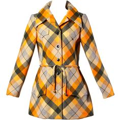 Preowned 1970s Andre Laug Vintage Plaid Wool Jacket Or Coat ($875) ❤ liked on Polyvore featuring outerwear, coats, jackets, vintage, brown, sash belt, vintage coat, plaid coat, vintage wool coat and woolen coat