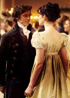 James McAvoy (Mr. Tom Lefroy) & Anne Hathaway (Jane Austen) - Becoming Jane directed by Julian Jarrold (2007) #janeausten