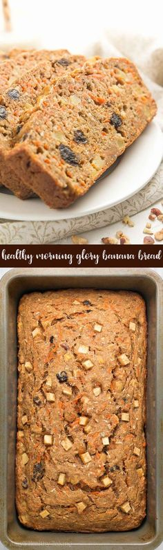 {HEALTHY!} Morning Glory Banana Bread -- only 135 calories! Naturally sweetened, really tender & so easy to make! It's perfect for quick on-the-go breakfasts & snacks. Completely kid-approved too!   healthy banana bread recipe   easy banana bread recipe   healthy banana bread with greek yogurt