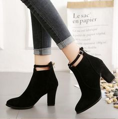 Chic Pointed Toe High Heels Ankle Boots · KoKo Fashion · Online Store Powered by Storenvy Chunky Heel Ankle Boots, High Heel Boots, Chunky Heels, Heeled Boots, Ankle Booties, Women's Shoes, Shoes Sneakers, Short Winter Boots, Winter Shoes