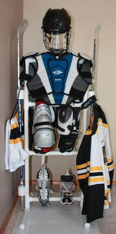 Hockey equipment drying tree ... Beats having a hockey bag explode in the living room.