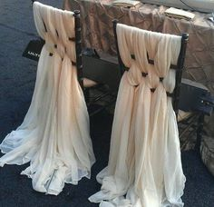 Weave chair backs with chiffon scarves or material. Luxury, done simply  lba9044d14e4e75121228f479ee089d4a.jpg 500×485 pixels