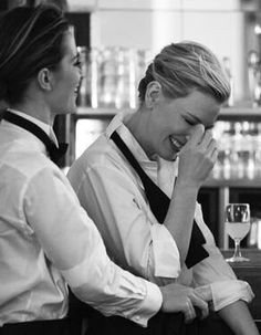 emily blunt and cate blanchett. original photo by peter lindbergh for IWV Cate Blanchett, Peter Lindbergh, Emily Blunt, Cinema, Comme Des Garcons, Portraits, Woman Crush, Black And White Photography, Girl Crushes