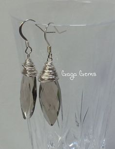 Silver Wire Wrapped Crystal Dangle Earrings by GagaGems on Etsy, $10.00