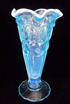 """Vintage Nice Blue Glass Opalescent 6 1/2"""" vase arches Bud Vase Crimp edge"""