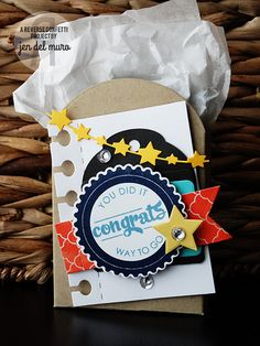 Congratulations Tote by Jen del Muro. Reverse Confetti stamp set: Circle Sentiments. Confetti Cuts: Scalloped Circle, Star Garland, Stitched Flag Trio, Tagged Tote, Folded Tag, Office Edges, and Oh My Stars. DIY party favor.