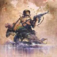 """#FrankFrazetta """"Combat"""" •1965• was published as cover art for Comic """"Blazing Combat #1"""" •Oil Painting on canvas• ••••••••••••••••••••••••••••••••••••••••••••••••••••••••••••• #Frazetta #FantasyArt #OilPainting #SciFi #SciFiArt #Fantasy #ScienceFiction #Illustration #Military #Comics #ComicArt #ComicBook #America #Soldier"""