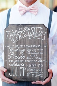 """Tip of the Day: Include your groom in the wedding planning by creating a themed cocktail bar or station dedicated to his favorite beverages. Two options we love: a beer bar with different drafts from around the world and a """"Gentleman's Toast Bar"""" with fine whiskey and aged rum. Include a sign with the name of your chosen theme so that guests understand its special significance."""