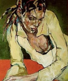"""Red Wine"" - Anna Bocek, oil on canvas, 2008 {figurative #expressionist art female décolletage reclining woman portrait grunge cropped painting} www.annabocek.com"