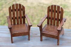 Miniature wooden adirondack chairs perfect for doll play or decoration. Price is per chair. Miniature Chair, Miniature Crafts, Miniature Furniture, Doll Furniture, Dollhouse Furniture, Popsicle Stick Crafts For Adults, Popsicle Stick Houses, Wooden Clothespin Crafts, Wooden Clothespins
