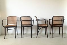 Josef Hoffman, Bentwood and Cane ''Prague'' Chairs, Set of Four, 1960s | From a unique collection of antique and modern armchairs at https://www.1stdibs.com/furniture/seating/armchairs/