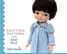 Knitting Pattern for Disney Animators dolls, 16 inch Doll Clothes Pattern, Coat and Hat Pattern Baby Blue Tutorial,