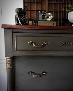 Vintage Empire Style dresser finished in Annie Sloan Chalk Paints. I mixed Coco & Graphite to get this beautiful deep grey. Clear & lots of…