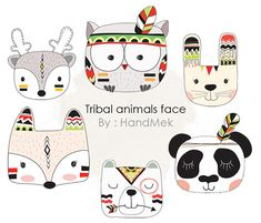 Tribal animals faces Woodland Clipart Animals clipart by HandMek
