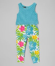 Another great find on #zulily! Blue & Pink Floral Sleeveless Jumpsuit - Toddler & Girls #zulilyfinds