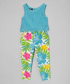 e339befa662 Loving this Blue  amp  Pink Floral Sleeveless Jumpsuit - Toddler  amp  Girls  on