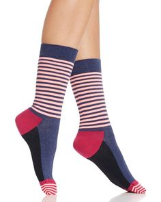 Happy Socks Colorblock Stripe Crew Socks In Navy Bright Navy Socks, Fashion Socks, Crew Socks, Hosiery, Color Blocking, Tights, My Style, Cotton, Happy
