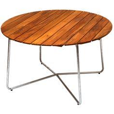 Pöytä 9A 120 cm, tiikki/lämpösinkitty statiivi ryhmässä Huonekalut / Puutarhakalusteet / Puutarhapöydät @ ROOM21.fi (102329)