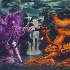 Naruto Uzumaki contra Sasuke Uchiha no Vale da Paz
