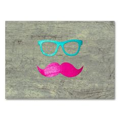 Funny Pink moustache teal hipster glasses wood Business Card Template
