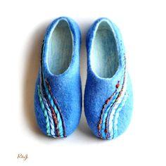 Felted slippers women handmade blue felted house от RitaJFelt