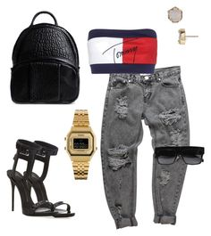 """Tommy girl"" by purlove on Polyvore featuring Tommy Hilfiger, Giuseppe Zanotti, CÉLINE, Alexander Wang, Casio, Kendra Scott, boyfriendjeans, tommygirl and tommy"