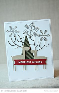 Stamps: Snow Globe Sentiments, Bold Diagonal Background Die-namics: Deer Love, Let It Snowflake Too, Oh, Christmas Tree, Stitched Sentiment Strips, Blueprints 27  Keisha Campbell  #mftstamps